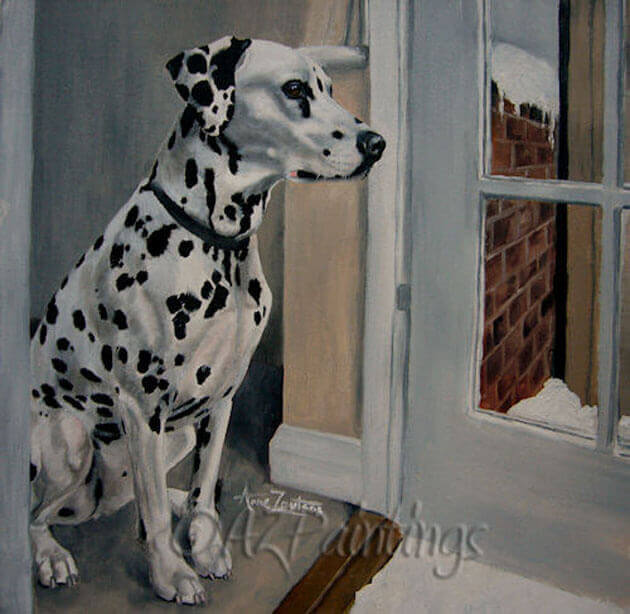 An oil painting of a Dalmatian looking outside at the snow