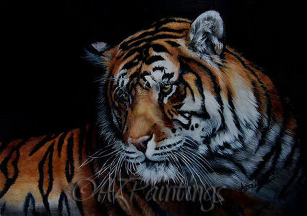 Burnt The Fire - an oil painting of a tiger