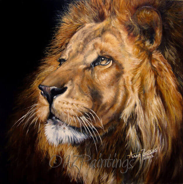 HRH - an oil painting of a male lion