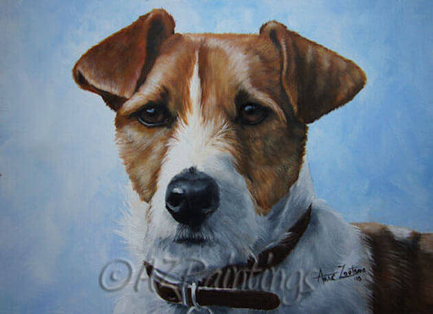 An oil painting of a Jack Russell Terrier and sky