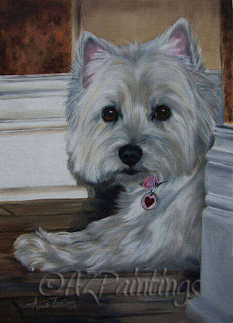 An oil painting of a West Highland White Terrier