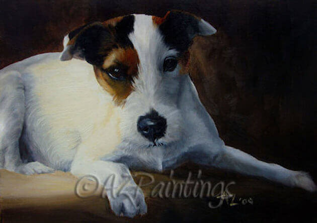 A study in oils of a Parson Jack Russell Terrier