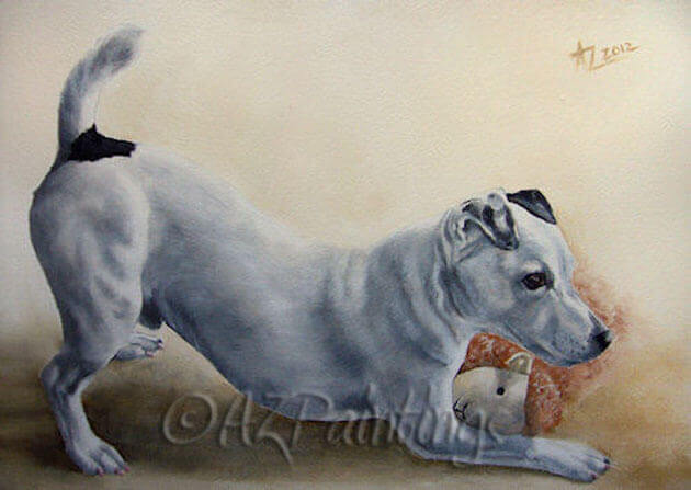 Playtime! - an oil painting of a Jack Russell Terrier