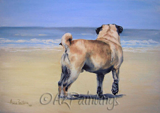An oil painting of a pug looking out to sea