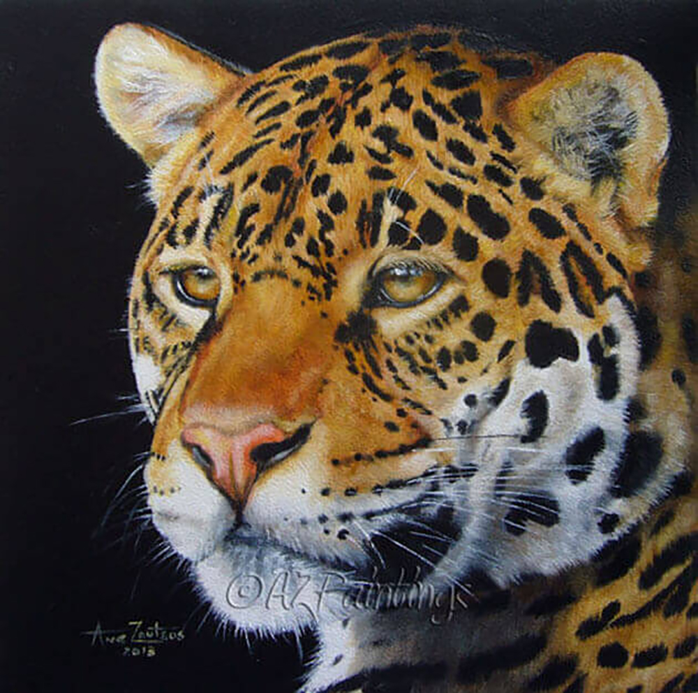 Shining Bright - an oil painting of a jaguar