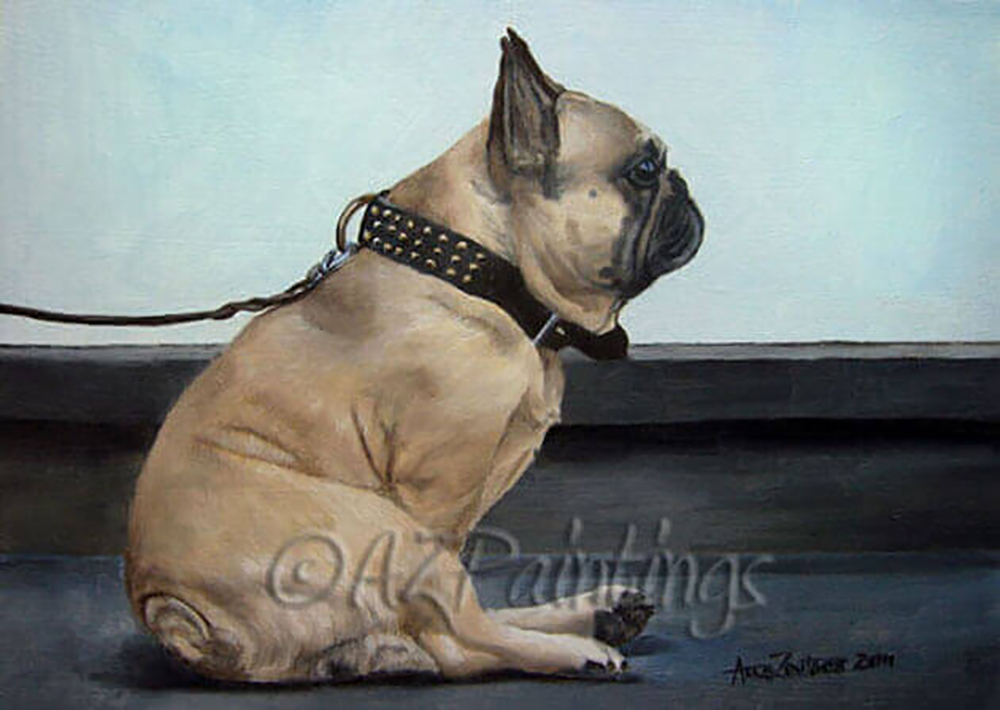 Sitting Pretty - an oil painting of a French Bulldog wearing a studded collar and leather lead, sitting waiting