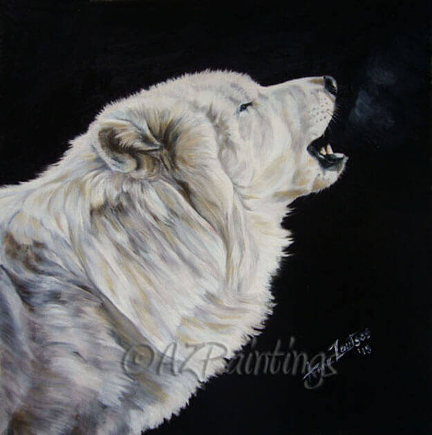 The Sound of Music - an oil painting of a white wolf howling