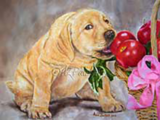 An Apple A Day - an oil painting of a cheeky puppy yellow labrador eating an apple from a basket