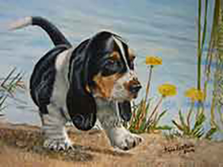 Baby Bassett - an oil painting of a puppy bassett hound by the water