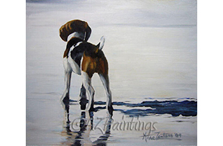 An oil painting of beagle reflections