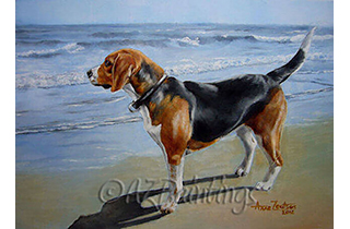 Beagle Sea View - an oil painting of a beagle looking out to sea