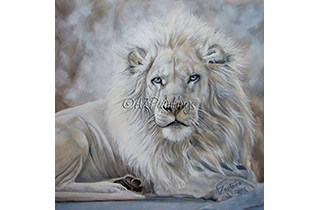 Beauty In The Beast - an oil painting of a blue eyed white lion