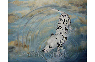 An oil painting of a Dalmatian and its reflection together with the reflection of the sky in a puddle