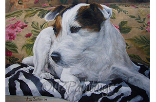 An oil painting of a Jack Russell Terrier