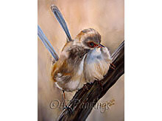 Fairy Wrens Kiss - an oil painting of two Fairy Wrens kissing on a branch