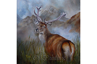 Glen Royal - an oil painting of a red deer stag in Scotland