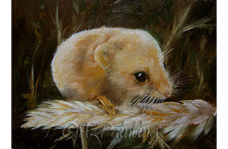 Snow and Fire - an oil painting of a harvest mouse