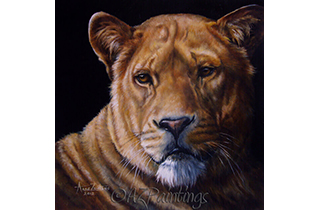Her Majesty - an oil painting of a lioness
