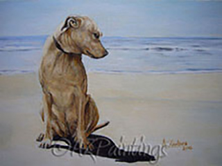 In Deep Thought - an oil painting of a dog in thought