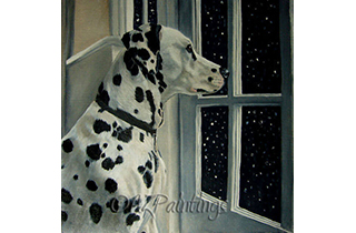 An oil painting of a Dalmatian looking out at the falling snow