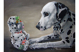 A Dalmatian stares intently at a Dalmatian soft toy