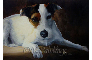 An study in oils of a Parson Jack Russell Terrier