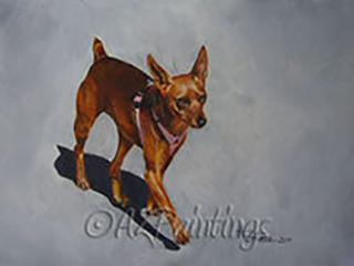 An oil painting of a little dog in bright sunshine (after the style of Reservoir Dogs)