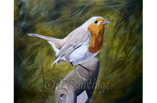 An oil painting of a robin