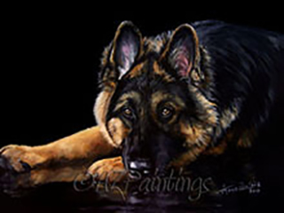 Shepherd Reflections - an oil painting of a German Shepherd Dog and its reflection