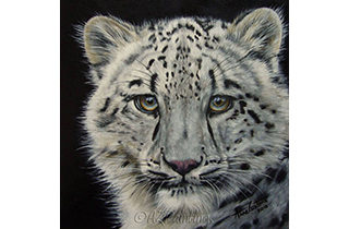 Snow White - an oil painting of a snow leopard