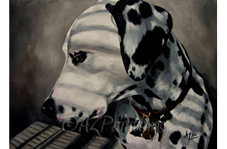 An oil painting of a Dalmatian in stiped shadow