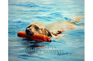 An oil painting of a labrador swimming