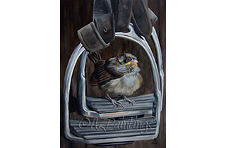 Ticket To Ride - an oil painting of a little bird in a stirrup