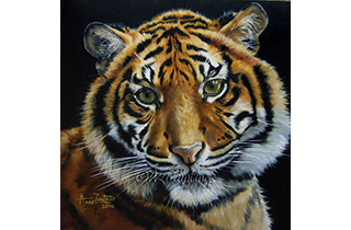 Tiger Light  - an original oil painting of a young tiger