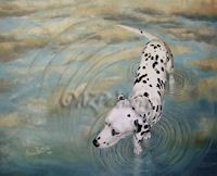 Painting of a Dalmatian walking in water with cloud reflections