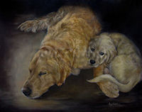 Painting of a Golden retriever and puppy